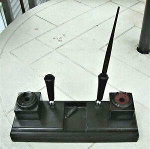 Antique Vtg Bakelite Pen Desk Set Co Illinois Double Inkwell Sengbusch Sheaffer