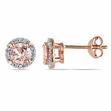 Amour Rose Goldplated Sterling Silver Morganite and Diamond Earrings
