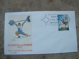 Spain Postal First Day Cover - 1972 Munich Olympic Games - Weight Lifting - ref1