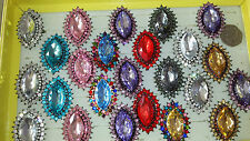 Job lot of 24 pcs Large stone Crystal Glass Fashion Rings - NEW Wholesale lot H1