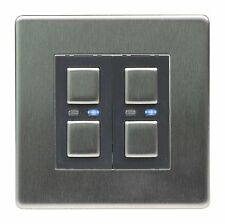 Lightwave Dimmer Switch 2 Gang JSJSLW420SS Smart Home - Control by App - Steel