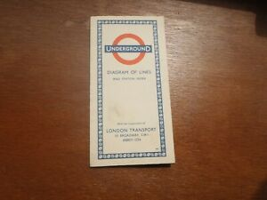 Vintage London Transport Railways Map, Diagram of Lines. 1957. Pocket sized card