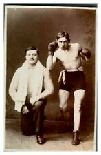 More details for antique rppc postcard portrait of a prize fighter boxer & his second or trainer