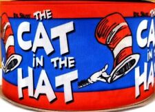 """7/8"""" 2 YARDS Blue Cat in the Hat Grosgrain Ribbon Dr Seuss Hair Bow Cards Crafts"""