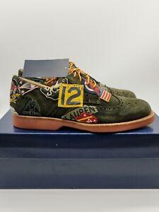 Polo Ralph Lauren Men's Rhett Suede Leather Wingtip Patch Oxford Green NEW