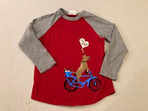 Hanna Andersson Boys 110 Valentines Dog Bike Red Baseball T-shirt EUC