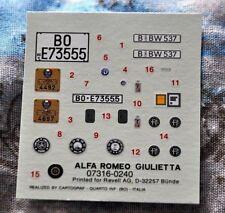 Decal REVELL ® 07316 1:24 ALFA ROMEO GIULIETTA SPIDER 1979 Cartograf Bologna