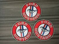 3 pcs FORD MUSTANG Biker Racing Car Iron on Patch Embroidered Sew on Shirt bag
