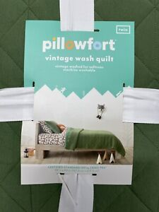 Pillowfort Green Vintage Wash Jersey Quilt, Twin Size, SOFT, Fast Free Shipping