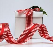 CHRISTMAS RIBBON 3 METRES QUALITY WIRE EDGED RED WHITE GINGHAM DECORATION 'RONA'
