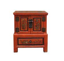 Chinese Oriental Distressed Orange Flower End Table Nightstand cs3468