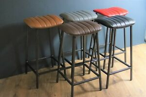 Industrial Leather Bar / Kitchen Stool with Curved Seat 67cm/77cm High