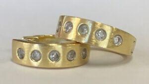 "Estate 0.15 Ctw Diamond Huggie Hoop Earrings 14K Yellow Gold 1/2"" Wide"