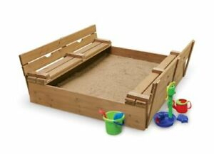 Covered Convertible Cedar Sandbox with Two Bench Seats 09988