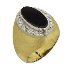 14K Yellow Gold Diamond Onyx Mens Ring   Size 9   14.8 Grams