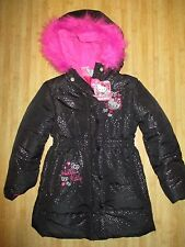 NEW☀ HELLO KITTY PUFFER JACKET COAT TOP Girls 5 Black Silver Pink $75 RV