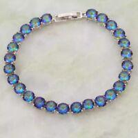 Mystic Fire Opal Gemstone Topaz Tennis Bracelet 925 Sterlin Silver Bangle