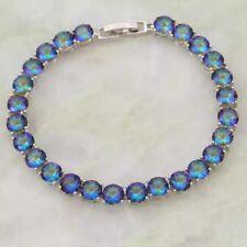 925 Silver Lovely Mystic  Fire Opal Gemstone Topaz Tennis Bracelet Bangle