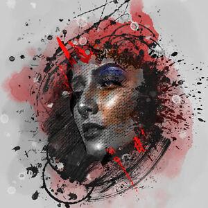 Woman Lady Face Head Metallic Paint Splash Piercing Art Print Canvas Picture