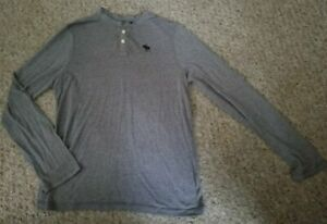 ABERCROMBIE Gray Long Sleeved Henley Top Boys XL Size 16-18