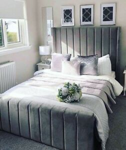 Grey Soft Plush Velvet Panel Design Wing bed with High Headboard and Mattress