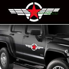 2PCS 50cm Cool JDM Military Symbol Red Star White Stripe Vinyl Car Sticker Decal