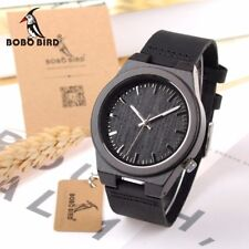 BOBO BIRD Men's Wooden Watches Genuine Leather Wood Watch Quartz Wristwatch
