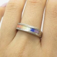 925 Sterling Silver Rainbow Mother-Of-Pearl Ring Size 9
