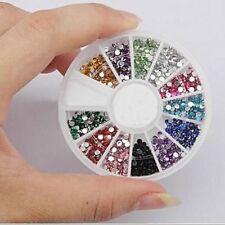 2 X 2000 1.5mm Arte en Uñas Gemas Redonda Colores mezclados en pequeñas CARRUSEL RUEDA UK