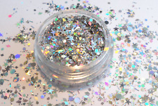 Nail Art Glitter SILBER HOLOGRAMM MEGA-MIX sterne pailletten fäden  N*E*U*