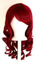 20'' Layered Loose Curly Cut w/ Long Bangs Burgundy Red Cosplay Wig NEW