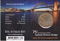 2007 Sydney Harbour Bridge 75th Years $1 Coin - Melbourne 'M' Mintmark