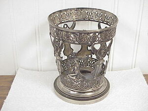 Antique Continental Silver Reticulated Alegorical Women Vase Base / Holder