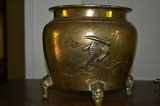 Large Antique 19th century Chinese bronze baluster bowl heavily decorated,c 1890
