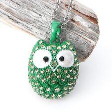 NEU 60cm HALSKETTE EULE grün STRASSSTEINE gelb UHU OWL Ankerkette farbe silber