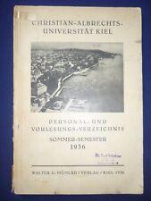 Personal- und Vorlesungsverzeichnis : Kiel 1936 Christian-Albrechts-Universität