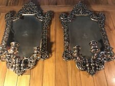 A Pair Of Antique English Silver Plated Wall Sconces/ 3 Lights/ England C. 1870