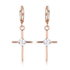 Womens Rose Gold Filled Corss Crystal Drop Hoop Earrings Statement Fashion