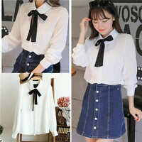 Fashion Women Summer Loose Casual Chiffon Long Sleeve Blouse Shirt Bow Tie Tops