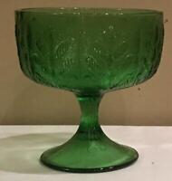 VINTAGE FTD Emerald Glass Pedestal Snack Candy Bowl 3-Cups Embossed Oak Leaf