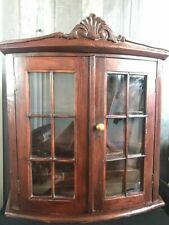 Antique Handmade Dutch Oak Wall Cabinet Cupboard Glass