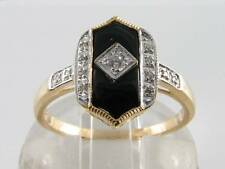 LOVELY 9K 9CT GOLD ONYX & DIAMOND ART DECO INS RING FREE RESIZE.