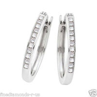 0.50ct Channel Set Princess Cut Diamond Hoop Style Earrings in Gold and Platinum