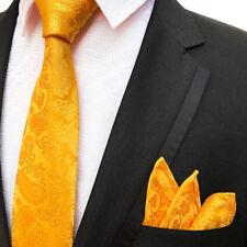 ORANGE MUSTARD GOLD BRIGHT PAISLEY DESIGNER WEDDING TIE AND POCKET SQUARE SET UK