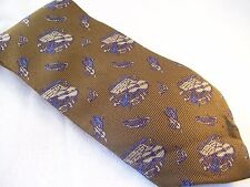 Hero Club String & Brass Musical Instruments Tie Men's Silk Necktie Retro Brown