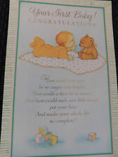 """New Vintage """"Your First Baby!  CONGRATULATIONS...""""  Beautiful Greeting Card"""