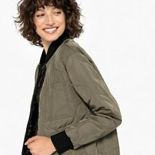 LA REDOUTE Khaki Green Quilted Padded Long Jacket Size 14 Light Riding Coat