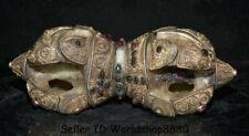 "10.8"" Old Tibet Buddhism Nepal Filigree Crystal Inlay Gem Phurba Dagger Holder"