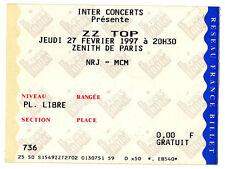Z Z TOP ticket zenith paris 1997