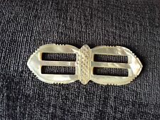 VINTAGE LARGE HAND CARVED MOTHER OF PEARL DOUBLE BUCKLE RARE
